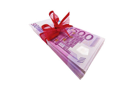 Gift of money. Stack of euro bills with red ribbon isolated on white background. High quality 3d render. photo