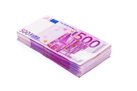 money packs: A Stack of 500 Euro Banknotes (pile)