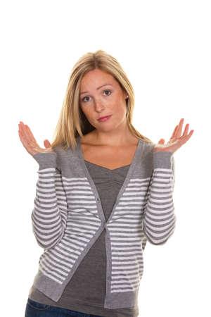 clumsy: Una donna ignaro alza le spalle. Shrug di impotenza e Archivio Fotografico