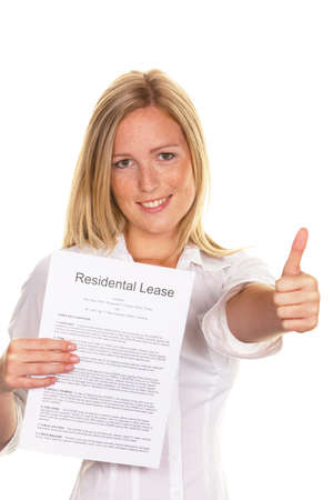 lease: A young woman has successfully completed a lease. In English