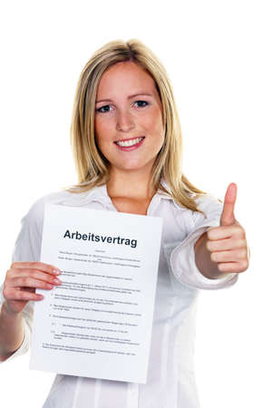 jung: A young woman with a job during the interview was successful. Stock Photo