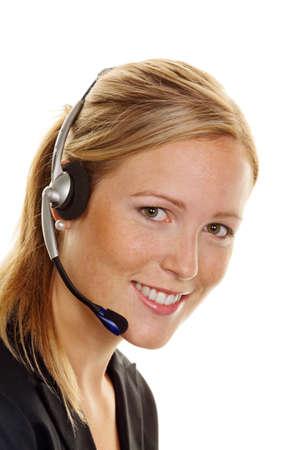 Mujer con auriculares de teléfono de servicio al cliente. Aceptación de la orden y línea telefónica