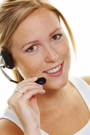 acceptance: Woman with telephone headset in customer service. Order acceptance and Hotline