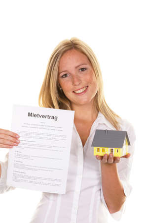 A young woman has successfully completed a lease. Stock Photo - 10486701