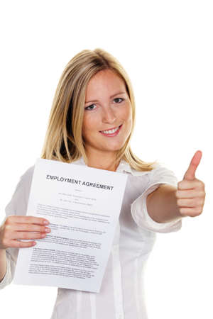 job advertisement: A young woman with a job during the interview was successful. In English