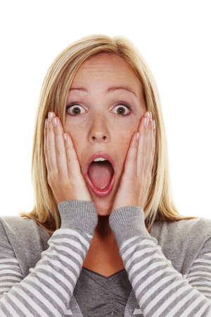 stunned: An unsuspecting woman is stunned. Frightened and helpless Stock Photo