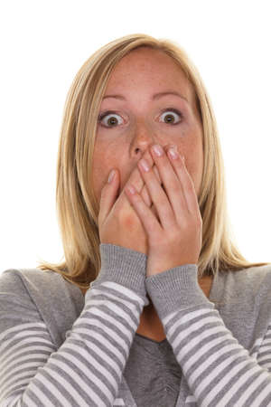 unsuspecting: An unsuspecting woman is stunned. Frightened and helpless Stock Photo