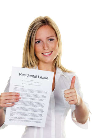 for rent sign: A young woman has successfully completed a lease. In English