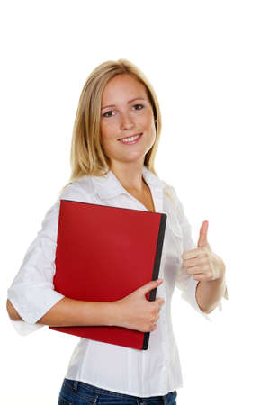 A young woman with application portfolio during the interview was successful. photo