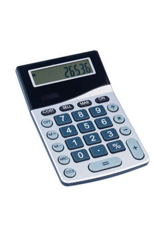 zahlen: A calculator is located on a white background. Symbolic photo for cost, revenue and profit.