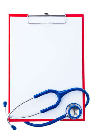 findings: A clipboard with paper labels and a stethoscope. Survey findings with a doctor.