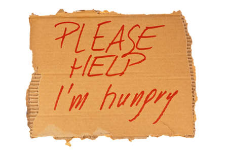 homeless person: The sign of a homeless man out of cardboard. Isolated on white background Stock Photo