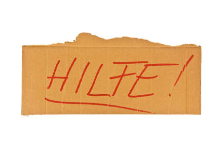 hartz 4: The sign of a homeless man out of cardboard. Isolated on white background Stock Photo