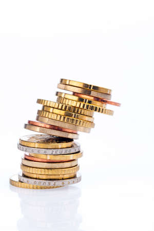 cents: A toppling stack of coins of euro cents. Isolated on white background Stock Photo