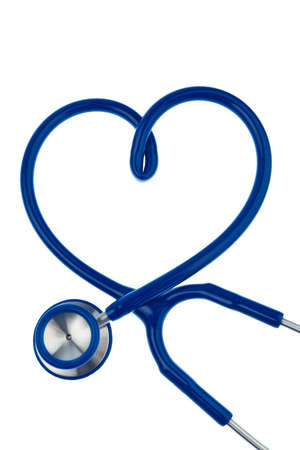 physicans: A stethoscope is in heart shape on a white background