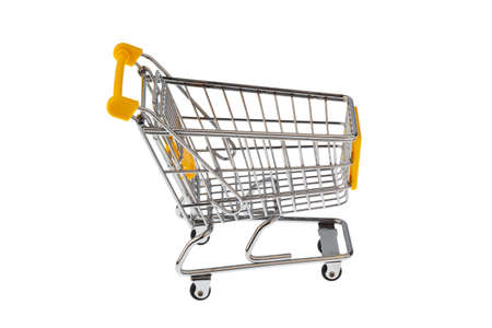 local supply: A shopping cart on a white background. Symbolic of shopping and shopping. Stock Photo