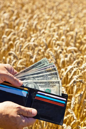 agricultural life: A farmer with a purse on cereal box. Subsidies in agriculture Stock Photo