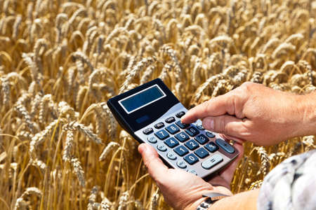 cereal box: A farmer with a calculator on cereal box. Subsidies in agriculture Stock Photo