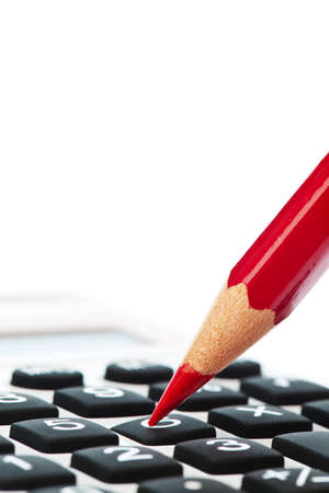 liquidity: A red pencil and a calculator. Streamline and save image icon