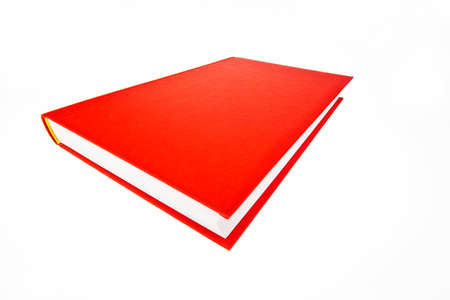 A book lies in a red cover on a white background