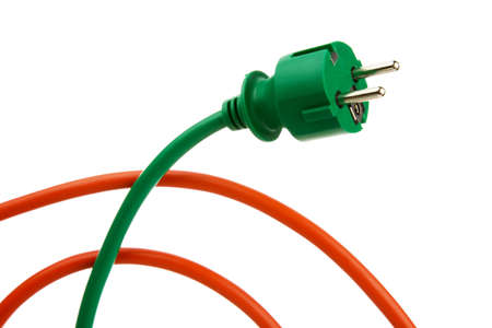 curren: A power connector and a power cable. Energy supply and energy consumption. Stock Photo