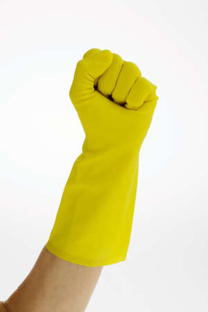 physicans: The latex glove of a cleaning lady on a white background. Stock Photo