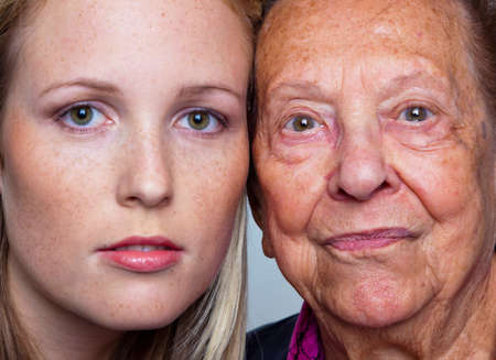 freckles: portait of a young and an old woman. juxtaposition.