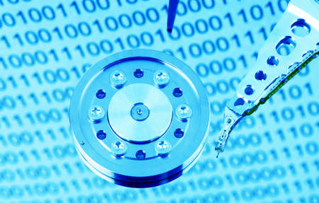 the hard disk of a computer isolated on white background photo