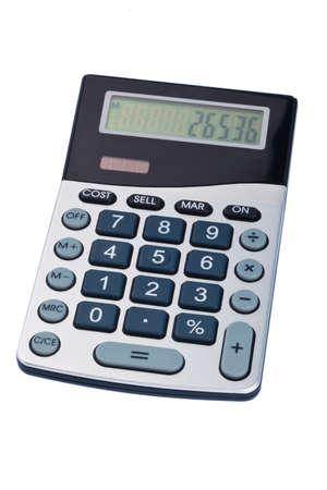 bolsa dinero: una calculadora se encuentra sobre un fondo blanco. icono de foto para los gastos, ingresos y beneficios. Foto de archivo