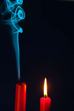 death and dying: the flame of a candle was blown out. symbol of death, dying and past