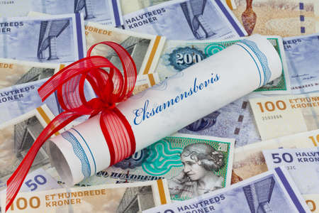 abroad: danish crowns. currency from denmark in europe. cost of education.