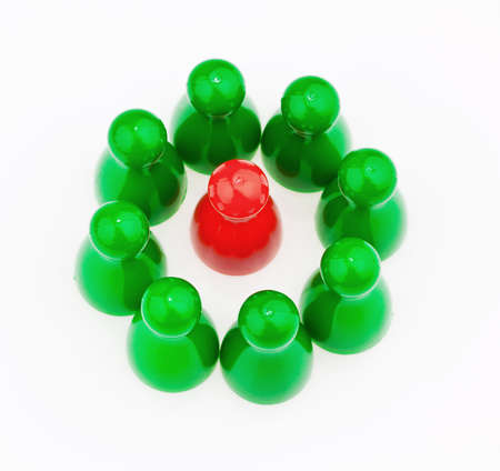 quota: red and green characters. unlike in the team. quota for women in the workplace.