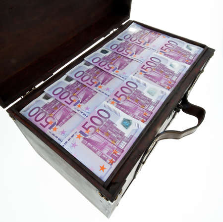 tax evasion: a large chest with euro banknotes. financial crisis, crisis, debt. Stock Photo