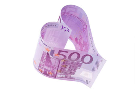 euro banknote: € 500 bill into a heart shape