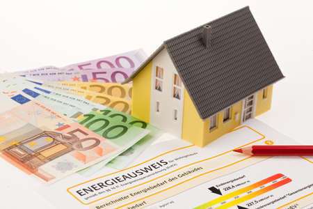 certification for single family, austria. with cutbacks and model house photo