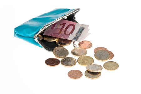 indebtedness: un portafoglio con banconote e monete Archivio Fotografico