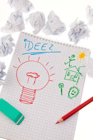 incidence: bulb on drawing as a symbol of new ideas. Stock Photo