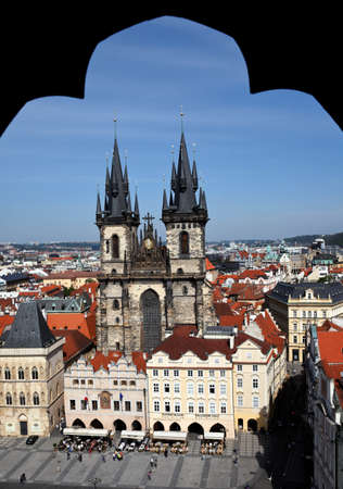 praha: prague, old town square, church of the virgin mariatyn Stock Photo