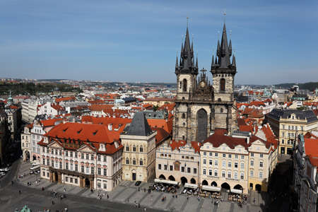 praha: prague, old town square, view from town hall tower. skyl ine, the city
