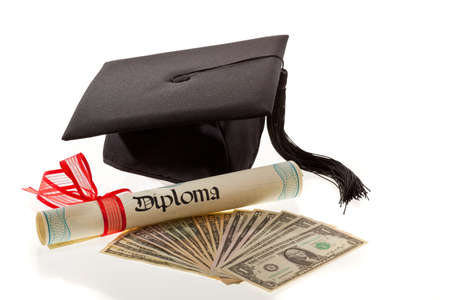 dissertation: mortarboard and dollars. symbol for education costs in america.