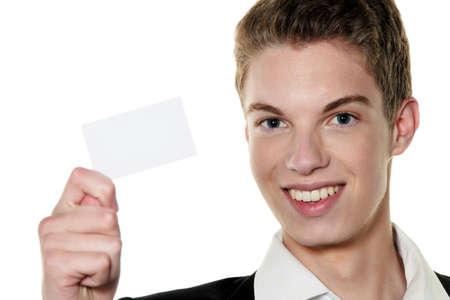 jonge ondernemers: een jonge rfolgreicher jonge ondernemers met visitekaartje