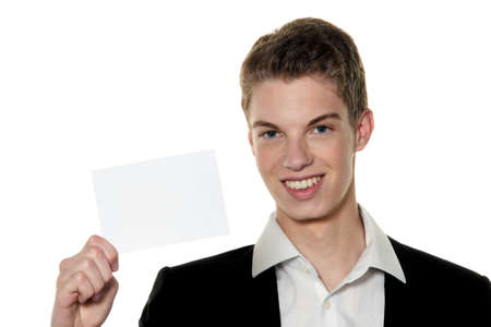unlabelled: a young rfolgreicher young entrepreneurs with business card Stock Photo