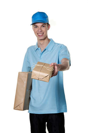 a young man brings a package delivery service