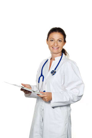 peoplesoft: young doctor in their doctors office reading a letter or finding Stock Photo
