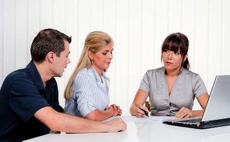 talks: husband and wife in a counseling session Stock Photo