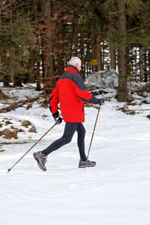 senior winter snow on the nordic walking Stock Photo - 11103884