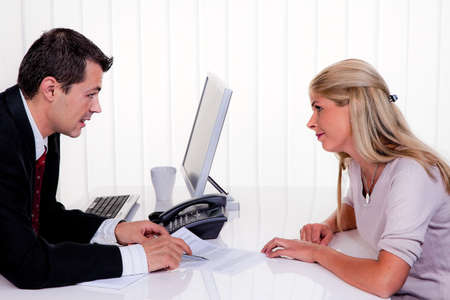 selling points: husband and wife in a counseling session Stock Photo