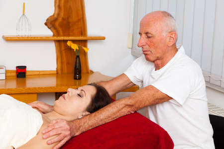 relaxation, peace and well-being through massage. head massage photo