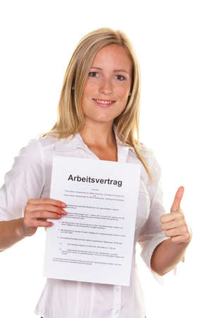 arbeitsrecht: a young woman with a job at the interview was successful. Stock Photo