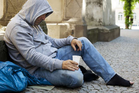 investigated: an unemployed homeless beggar is hungry and has